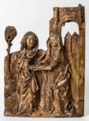 Rare relief of the Visitation of Mary, Lower Rhine, Gothic woodcarving, c. 1470, 60 x 43cm //