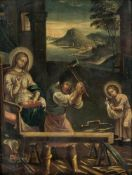 Holy family in the workshop, Oil/panel, 18th/19th century,24.3 x 18.3 cm, frame: 28.5 x22.5 cm //