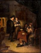 In the Office, Netherlands, oil on panel, probably circle of Richard Brakenburgh(1650-1702), 37 x
