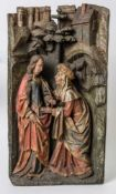 Amazing Relief of the Visitation of Mary, Gothic woodcarving, 19th century or earlier, 67x 37