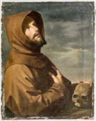 St. Francis of Assisi (?) with skull as a sign of transience, Oil on canvas, 19th century,45 x 35
