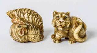 Two netsuke of a cock and a tiger, probably China, ivory carving, signed, probably around1900,