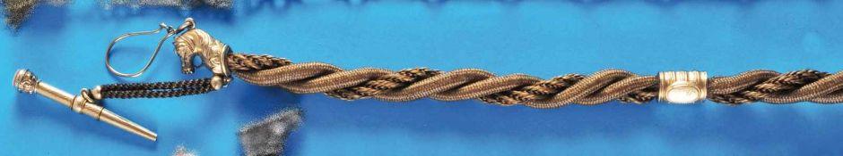 Biedermeier hair pocket watch chainBiedermeier Haar-Taschenuhrkette, L = 35 cm mit Pferdekopf und