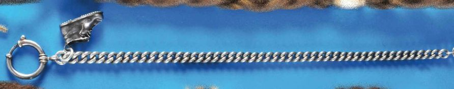 Silver pocket watch chainSilberne Taschenuhrkette mit Panzergliedern, Schuh-Anhänger(4988), L = 24