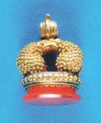 Golden signet Goldene Petschaft mit 6,24 Gramm, mit Koralle ausgefaßt (4947) 250