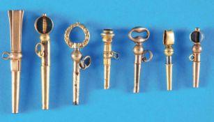 Bundle with 6 old golden pocketwatch-keysKonvolut mit 6 alten goldenen Taschenuhrschlüsseln, zum