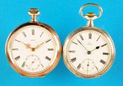 Bundle with 2 Omega-pocket watchesKonvolut mit 2 Omega-Taschenuhren, Silbergehäuse, Emailzifferblatt