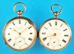 Bundle with 2 english silver pocket watchesKonvolut mit 2 englischen Silbertaschenuhren,