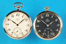 Bundle with 2 metal pocket watches, OmegaKonvolut mit 2 Metalltaschenuhren, Omega, 1 mit schwarzem