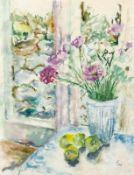 Cremer, Fritz (Arnsberg/Ruhr 1906 - 1993 Berlin)Stilleben mit Blumenstrauß und ÄpfelnAquarell,