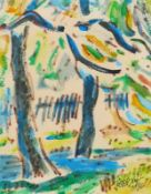 Bley, Fredo (Obermylau 1929 - 2010 Reichenbach/Vogtland)FrühlingAquarell, Farbstift, 1986, 280 x