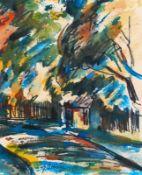 Bley, Fredo (Obermylau 1929 - 2010 Reichenbach/Vogtland)HerbstAquarell, 1984, 257 x 220, sign., dat.
