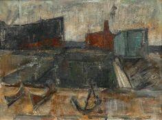 Böttcher, Manfred (Oberdorla/Thüringen 1933 - 2001 Berlin)(Im Hafen)Ölfarben auf Hartfaserplatte,