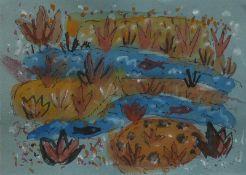 Ahnert, Elisabeth (Chemnitz 1885 - 1966 Ehrenfriedersdorf/Erzgebirge)(Wasserlauf mit Fischen)