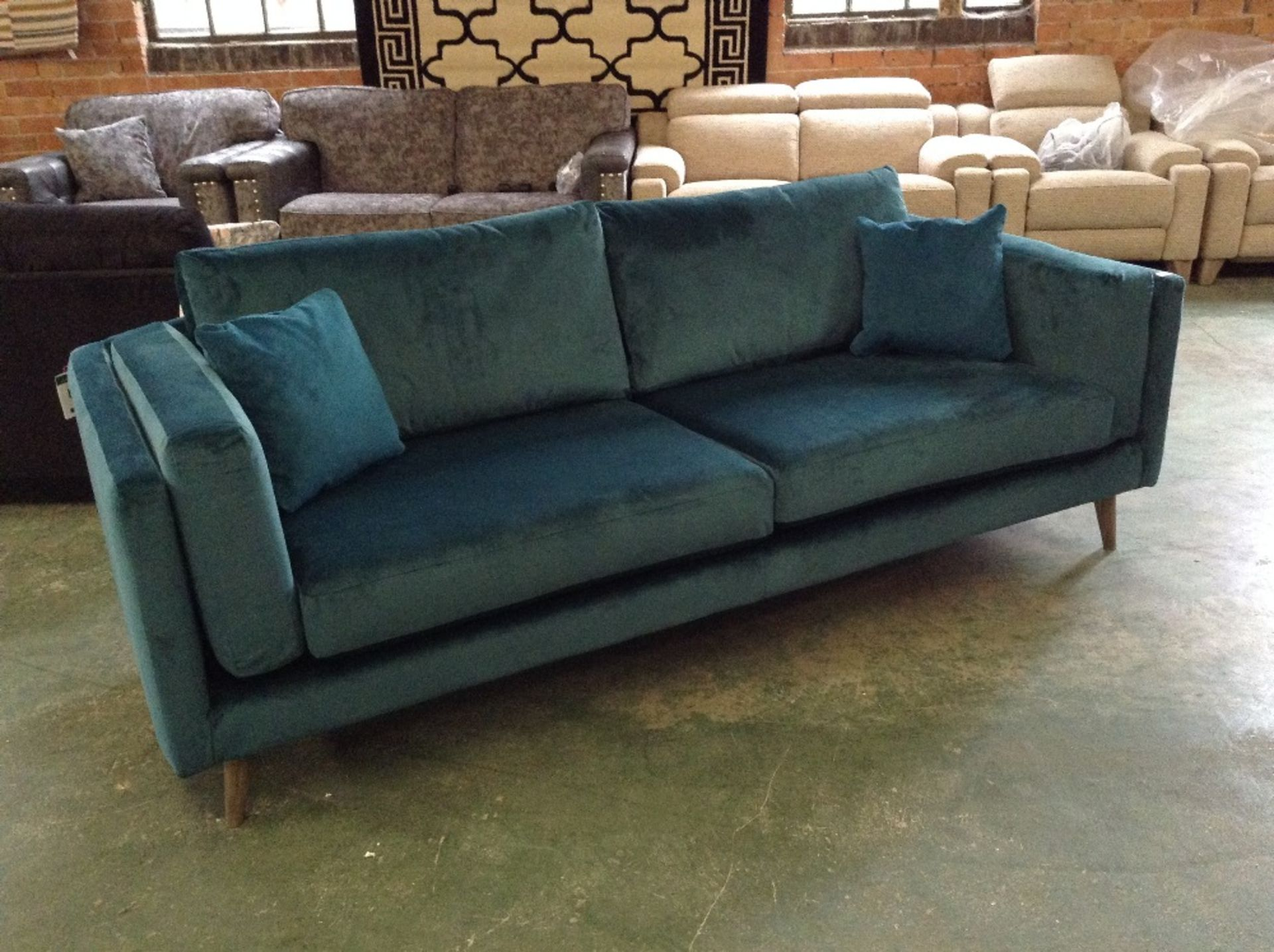 Lot 21 - TEAL 3 SEATER SOFA