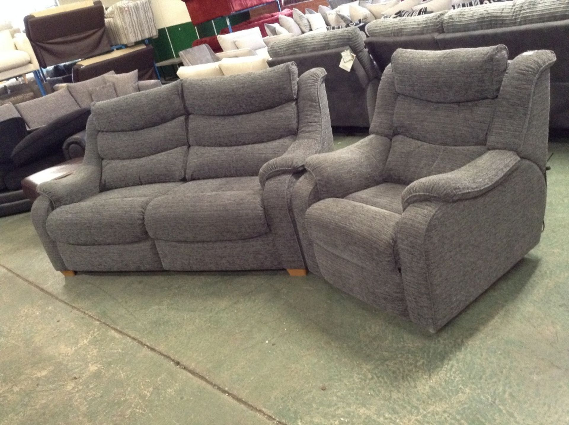 Lot 41 - GREY HIGH BACK 3 SEATER SOFA AND ELECTRIC RECLININ