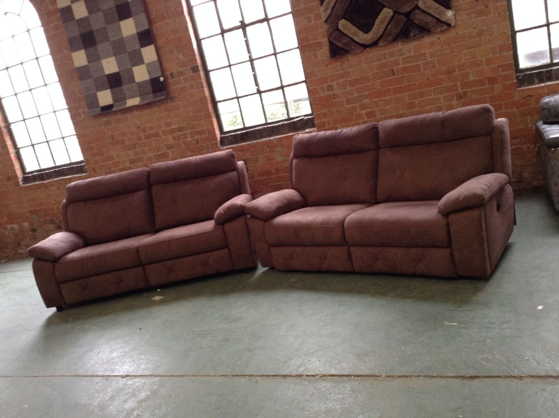 Lot 11 - BROWN SADDLE ELECTRIC RECLINING 3 SEATER SOFA AND