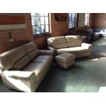 Lot 7 - VREAM 2 X 3 SEATER SOFAS AND FOOTSTOOL (WM24-17)