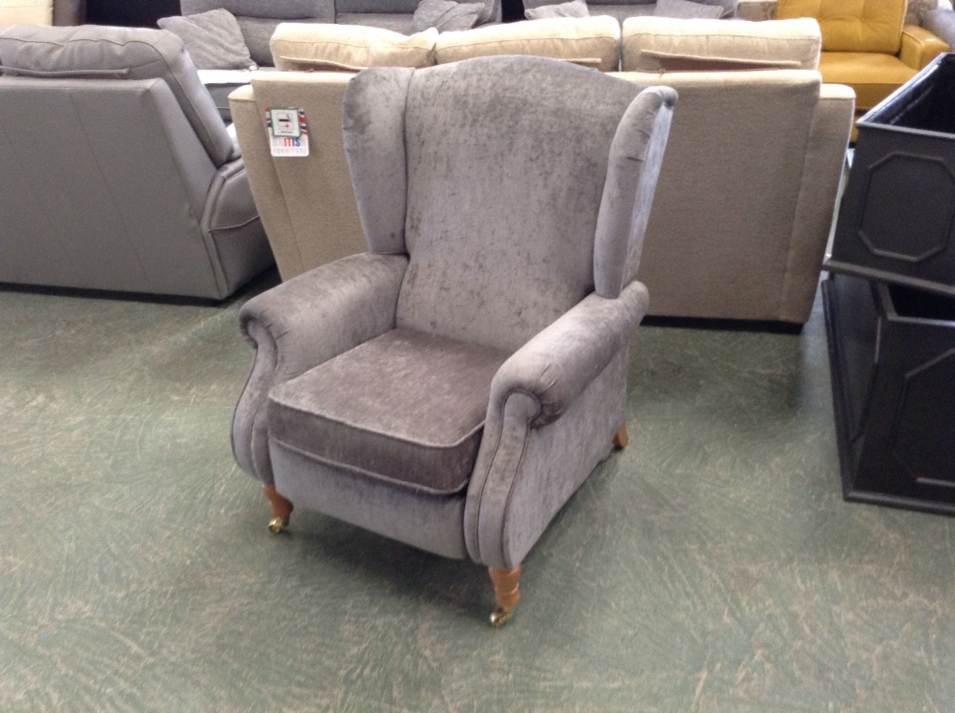 Lot 48 - GREY ELECTRIC RECLINING WING CHAIR (TROO1629-WOO61