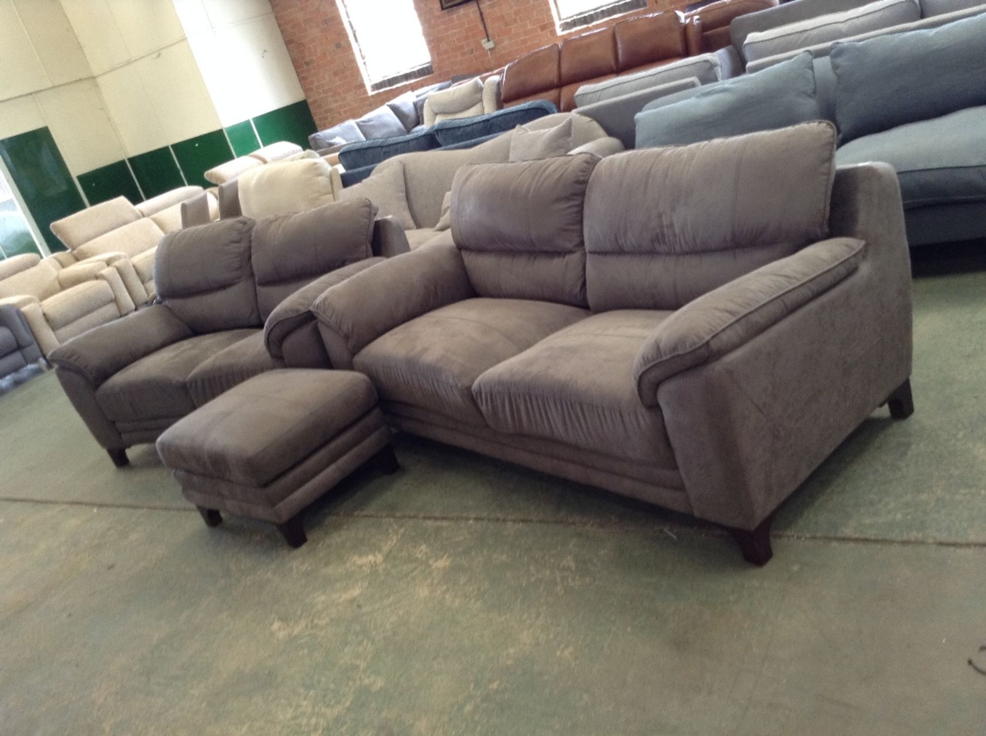 Lot 56 - GREY SADDLE 3 SEATER SOFA 2 SEATER SOFA AND FOOTST