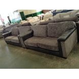 Lot 66 - GREY HALF HIDE 2 X 3 SEATER SOFAS (WM26-6)