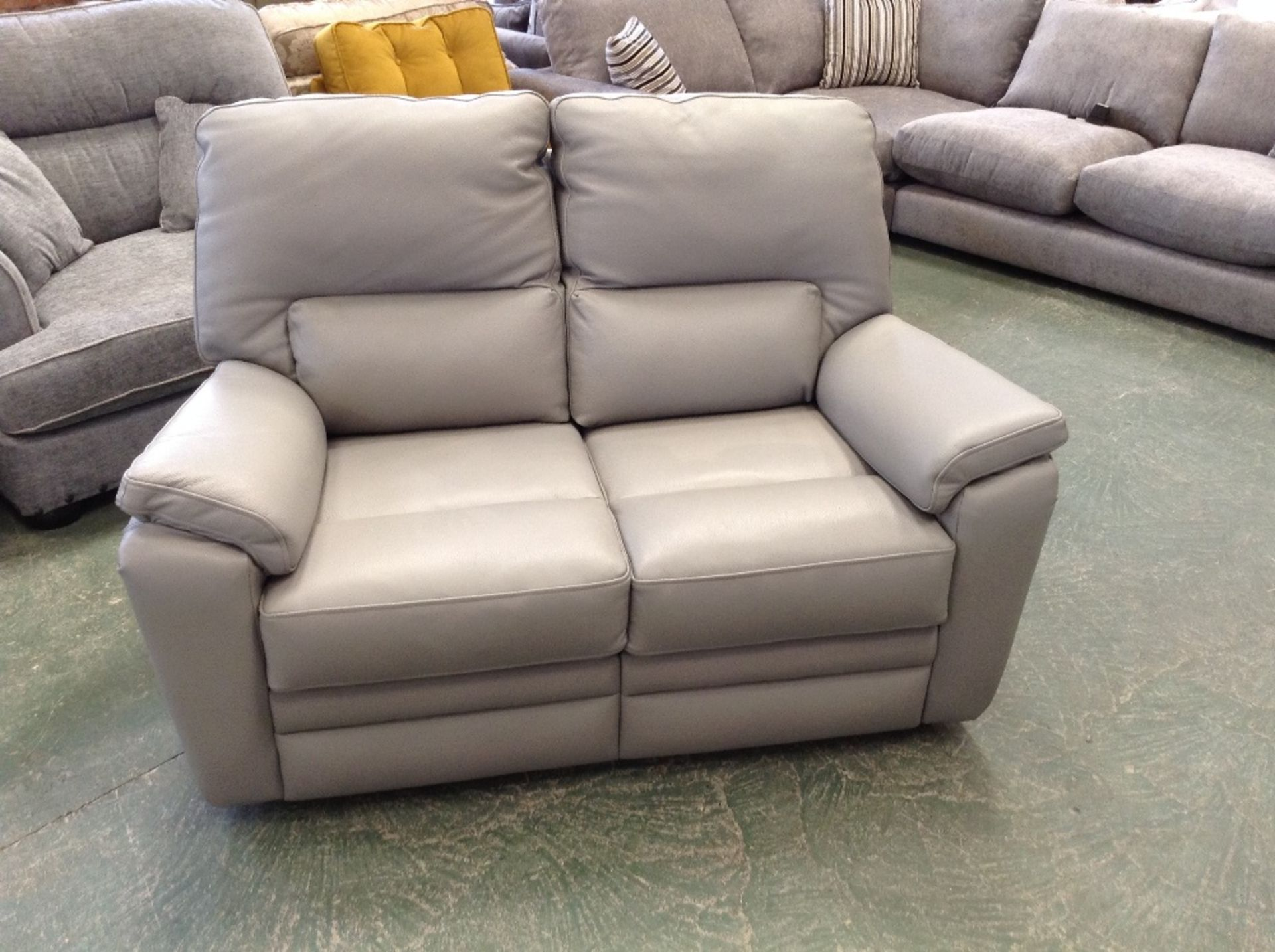 Lot 45 - GREY LEATHER HIGH BACK 2 SEATER SOFA (STITCHING LO