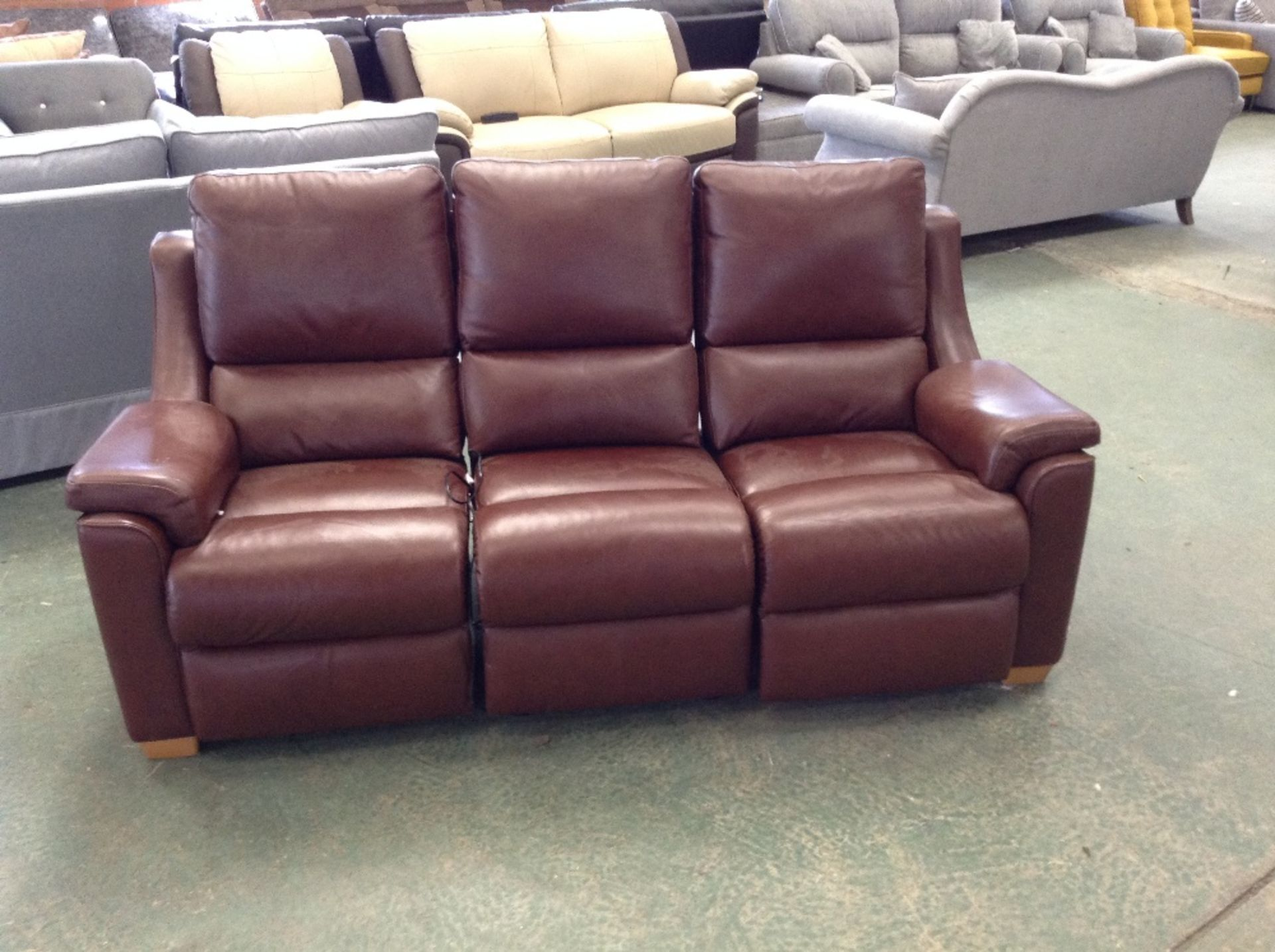 Lot 43 - BROWN LEATHER ELECTRIC RECLINING HIGH BACK 3 SEATE