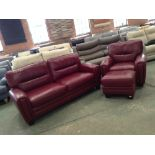 Lot 58 - RED LEATHER 3 SEATER SOFA ELECTRIC RECLINING CHAIR