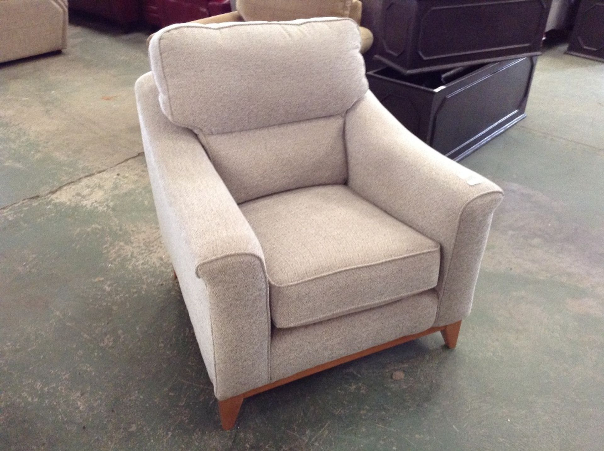 Lot 63 - GREY PATTERNED CHAIR (TROO1629-WOO614002)