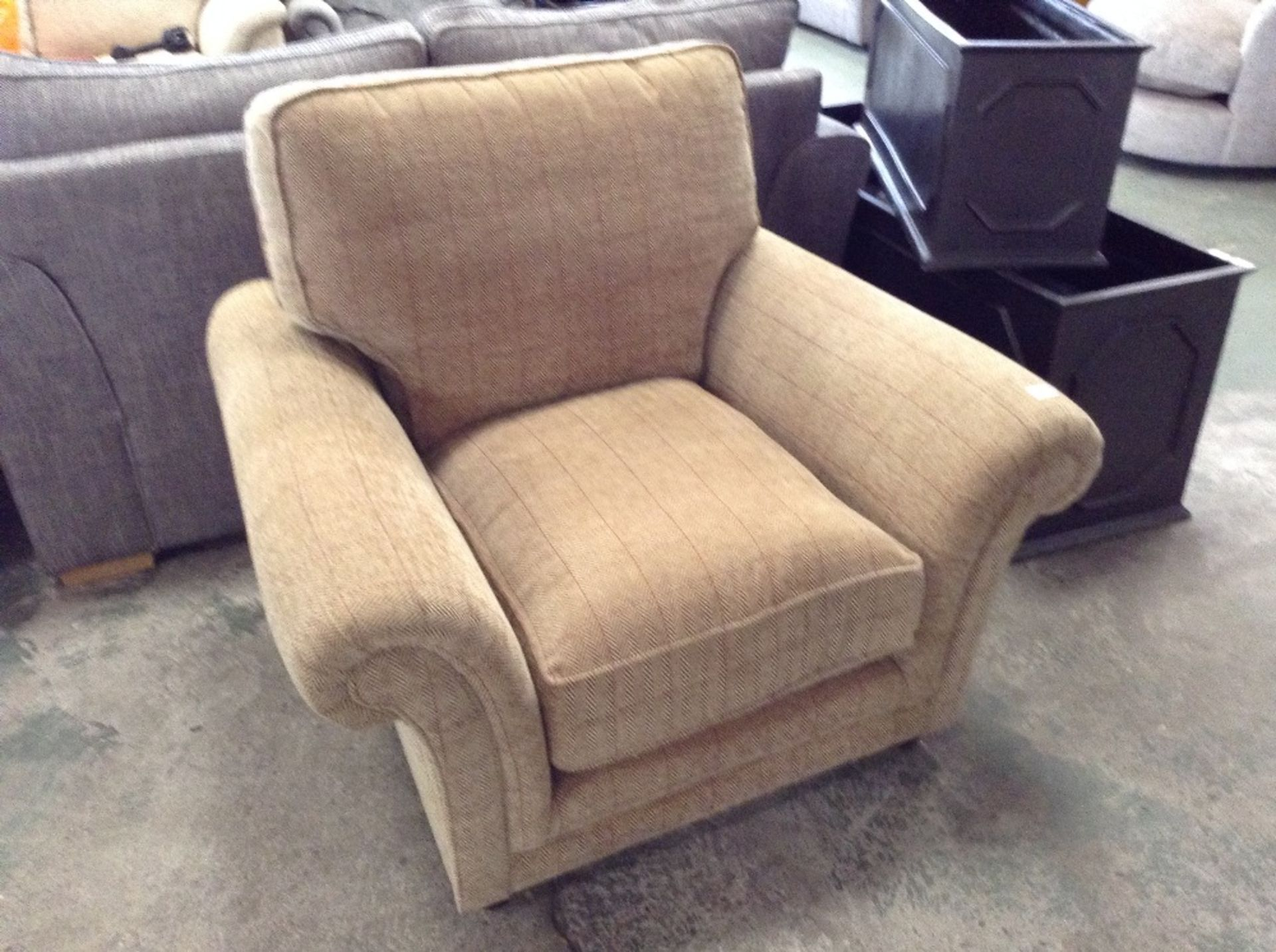 Lot 62 - GOLDEN CHECKERED CHAIR (MISSING CORRECT FEET ) (TR