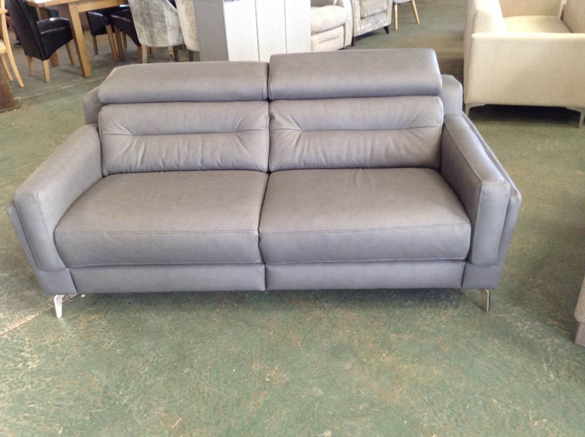 Lot 19 - GREY LEATHER 3 SEATER SOFA WITH ADJUSTABLE HEADRES