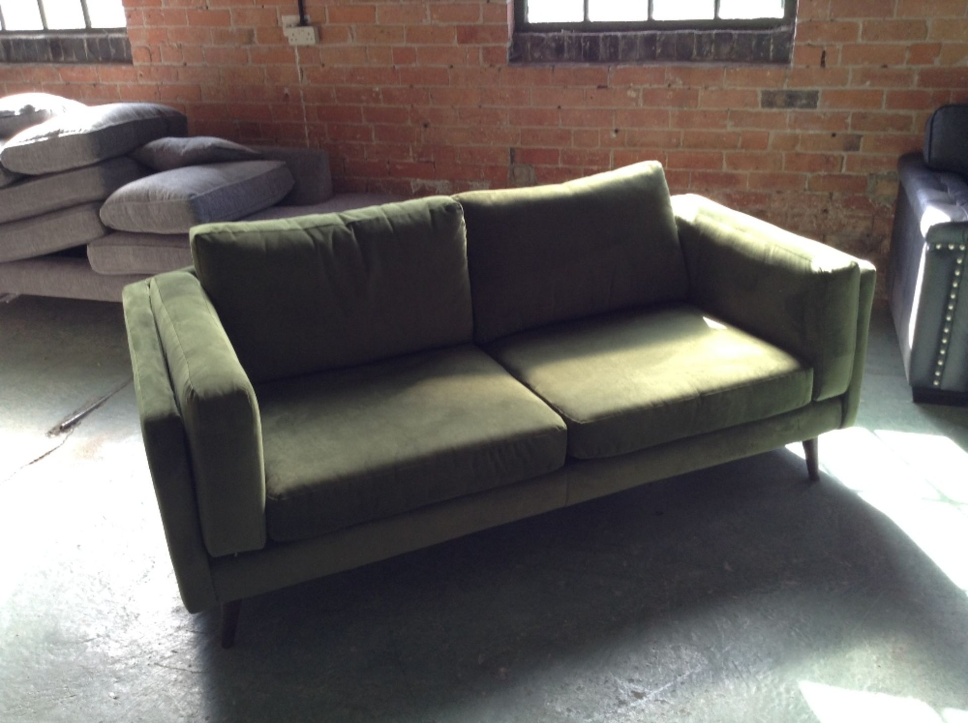 Lot 15 - GREEN 3 SEATER SOFA