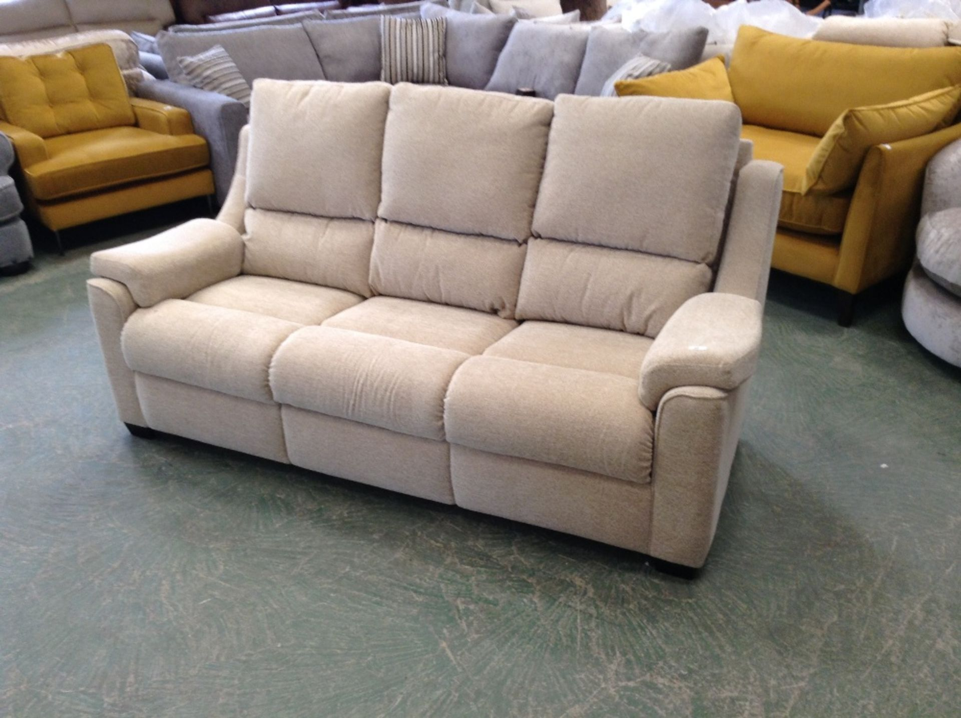 Lot 46 - BISCUIT HIGH BACK 3 SEATER SOFA (TROO1629-WOO59896