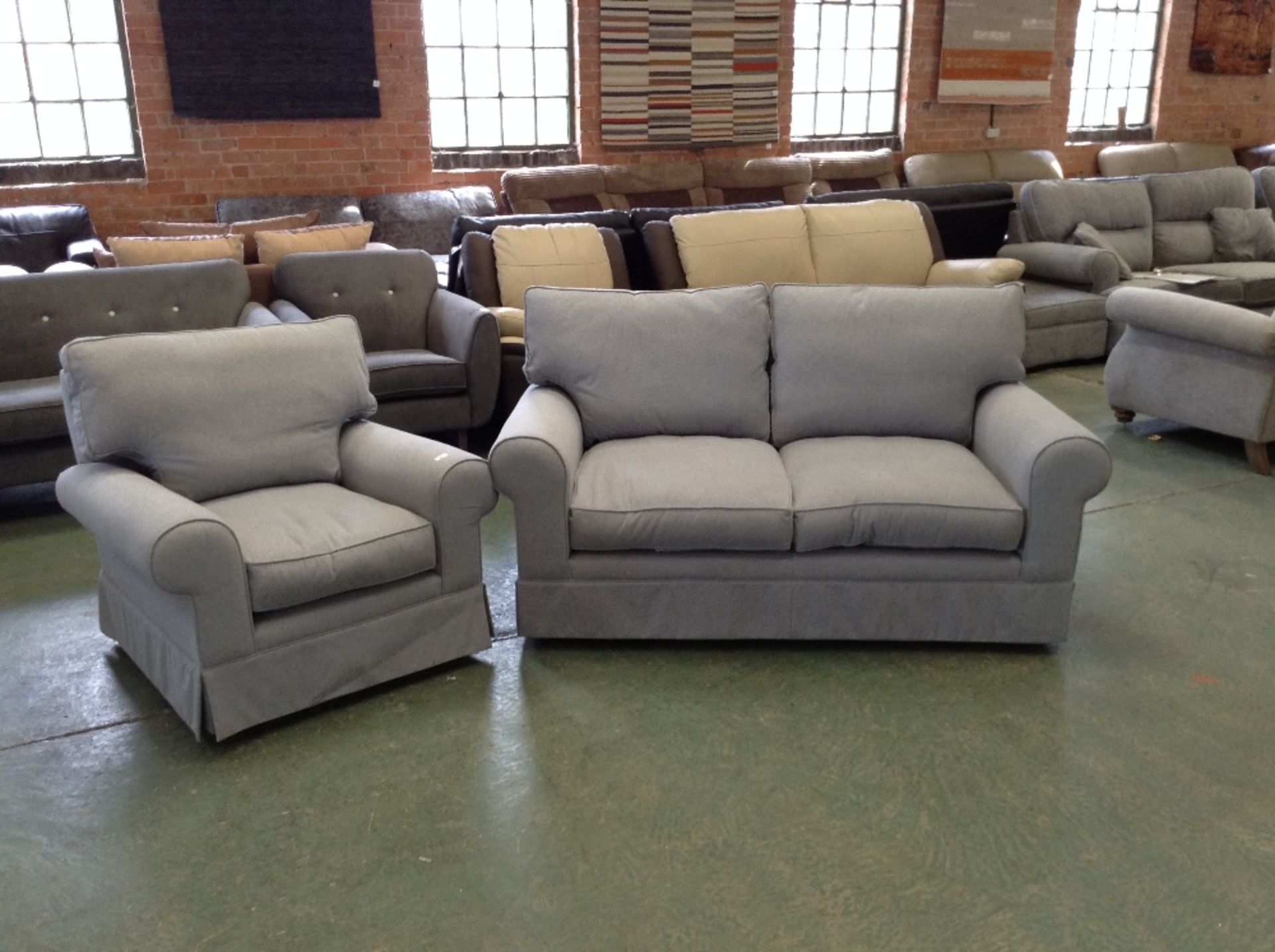 Lot 42 - GREY FABRIC 2 SEATER SOFA AND CHAIR (TROO1629-WOO5