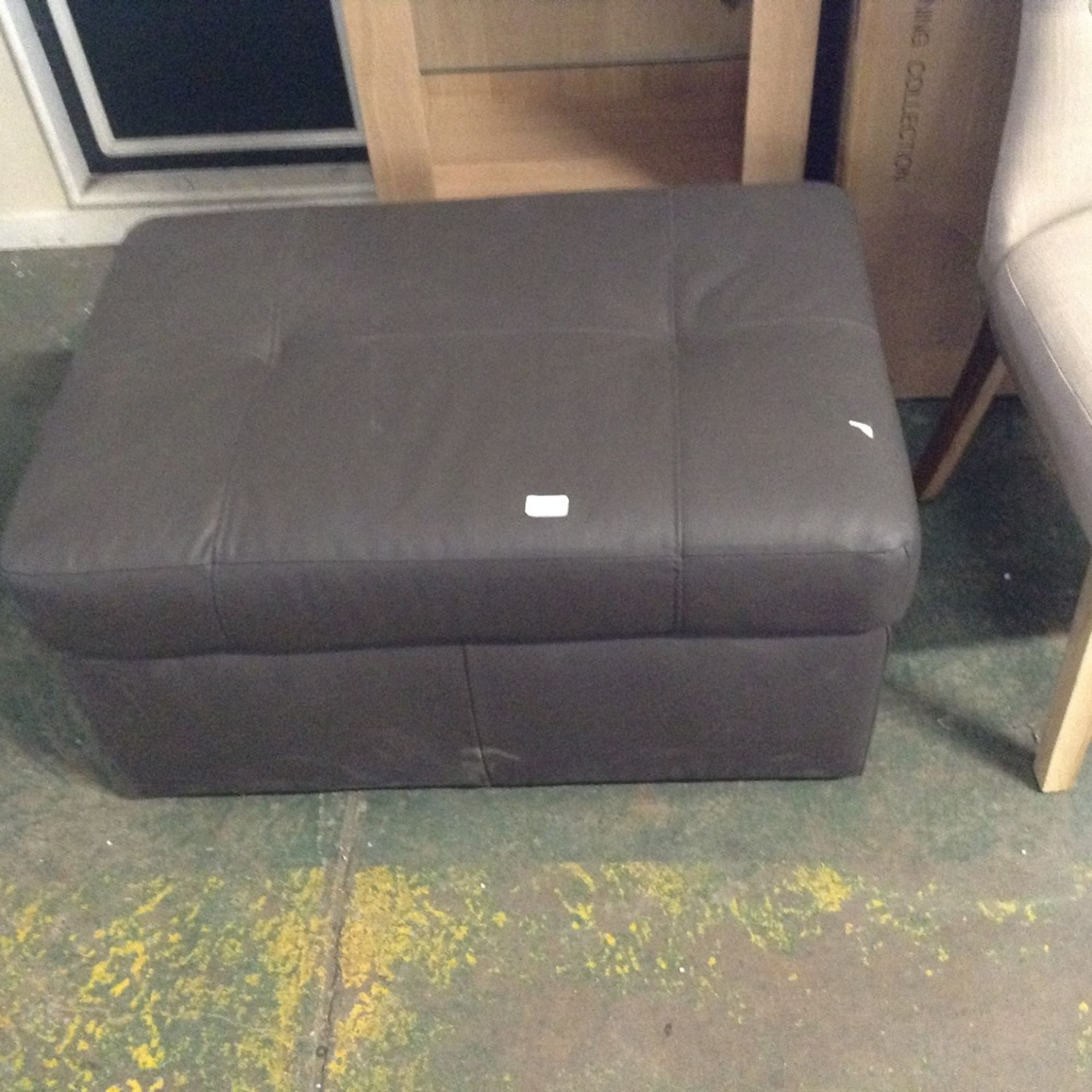 Lot 98B - BROWN LEATHER LARGE STORAGE FOOTSTOOL