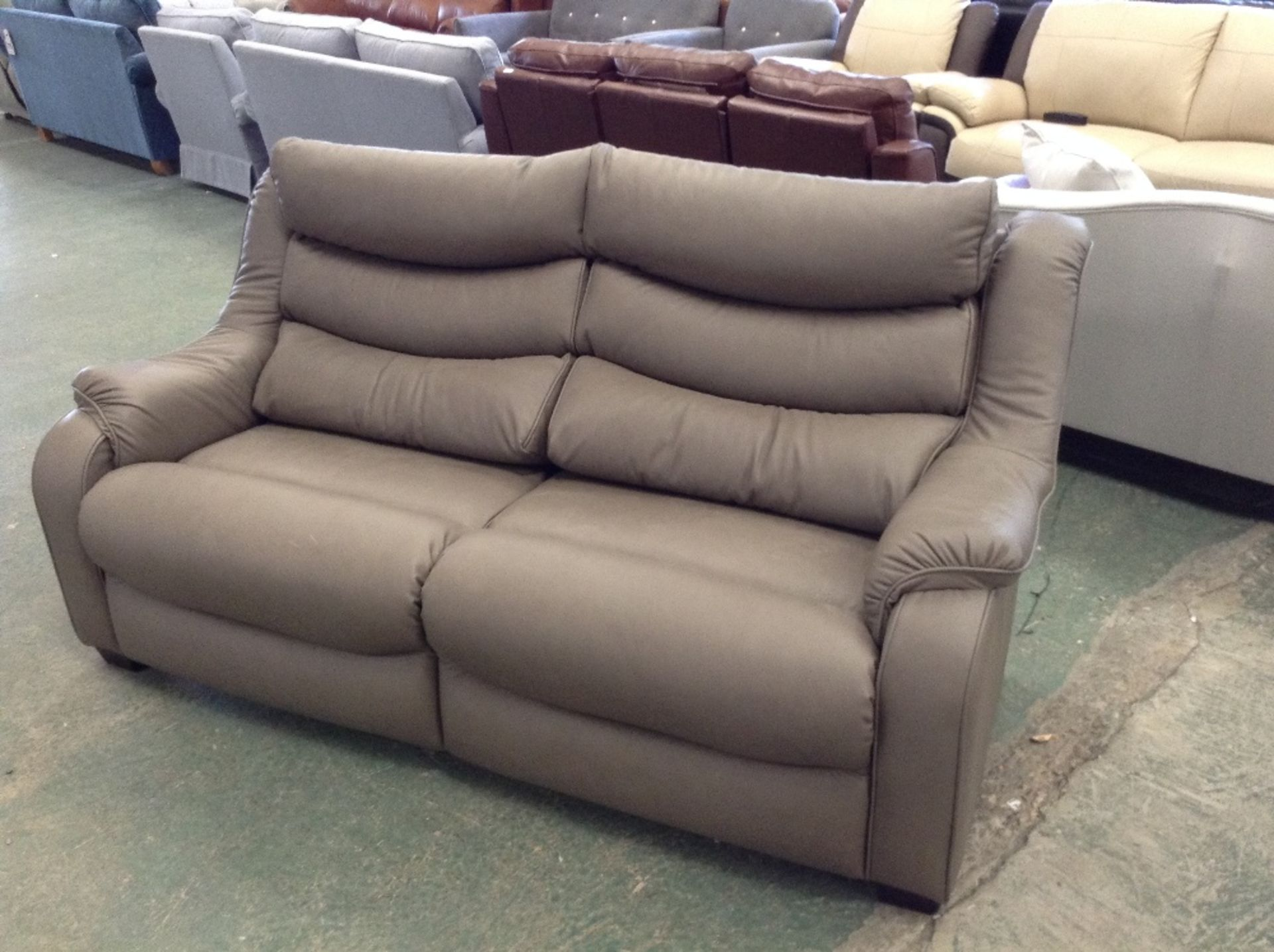 Lot 50 - GREY LEATHER HIGH BACK 3 SEATER SOFA (TROO1533-WOO
