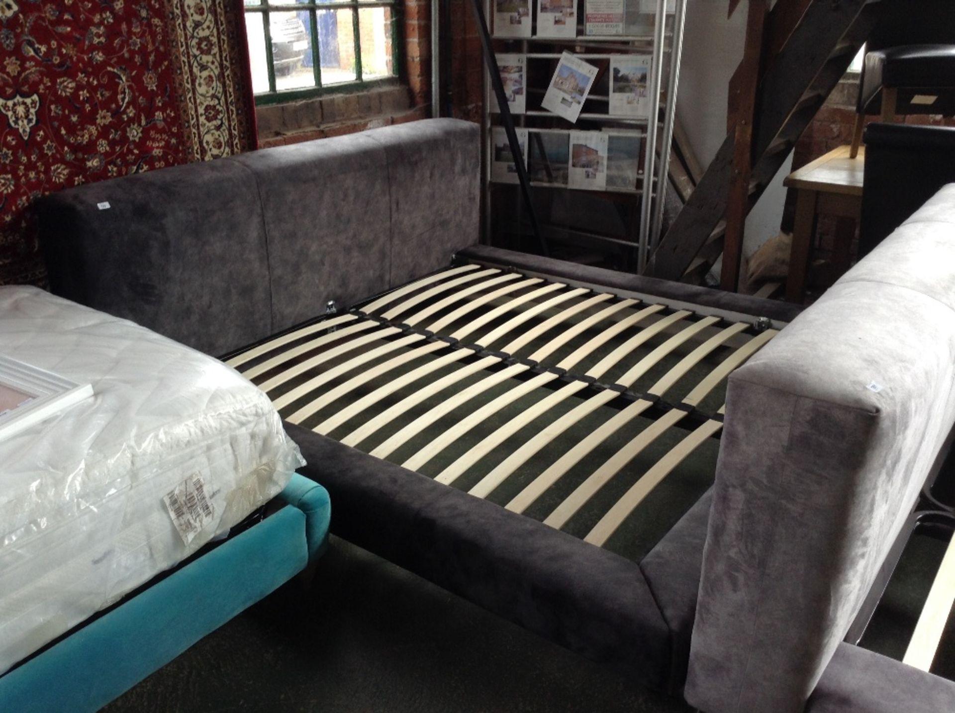 Lot 185 - CHARCOAL UPHOLSTERED 6 FT BED FRAME