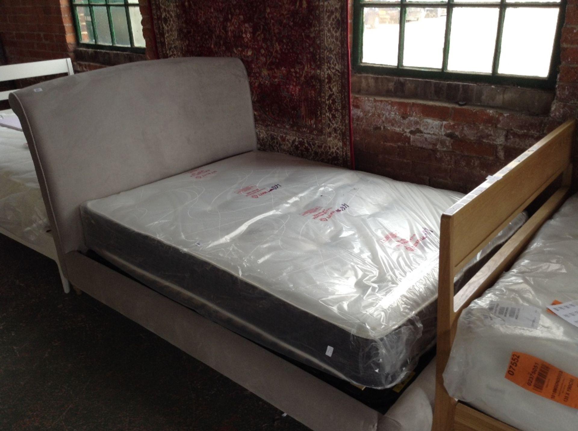 Lot 203 - GREY UPHOLSTERED KING SIZE BED FRAME