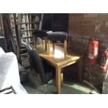 Lot 180 - OAK EXTENDING TABLE AND 4 X CHAIRS (DAMAGED TOP)