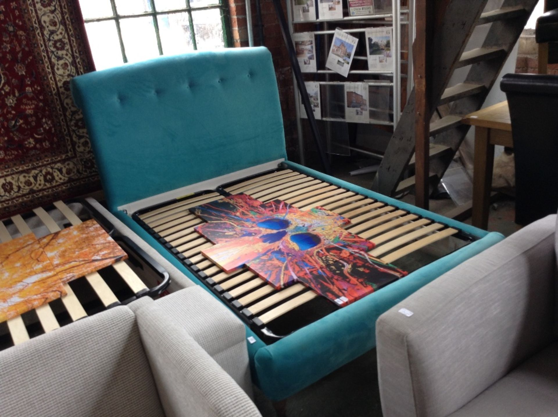 Lot 156 - TEAL UPHOLSTERED DOUBLE BED FRAME