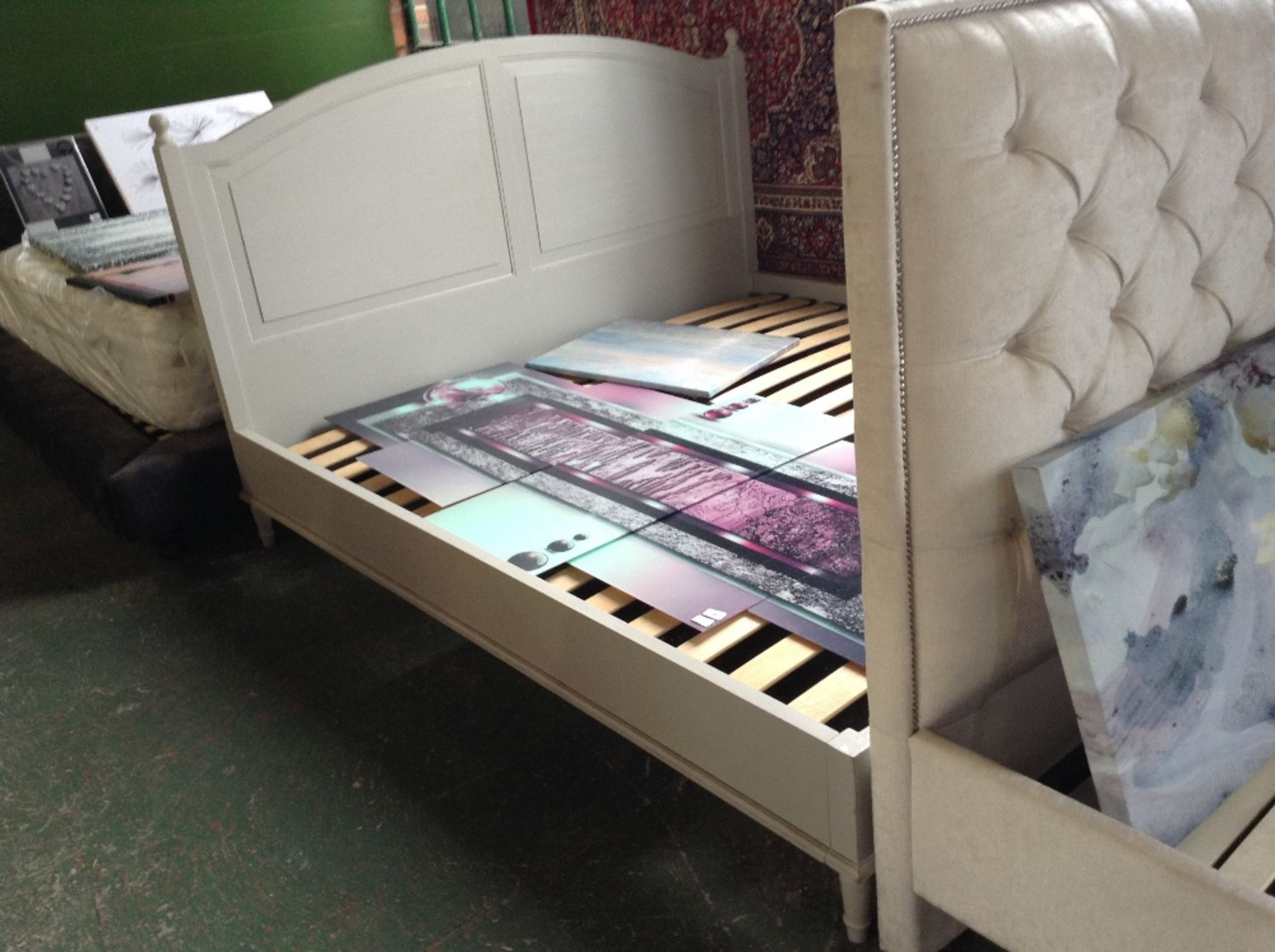 Lot 193 - HAND MADE PAINTED 6 FT BED FRAME