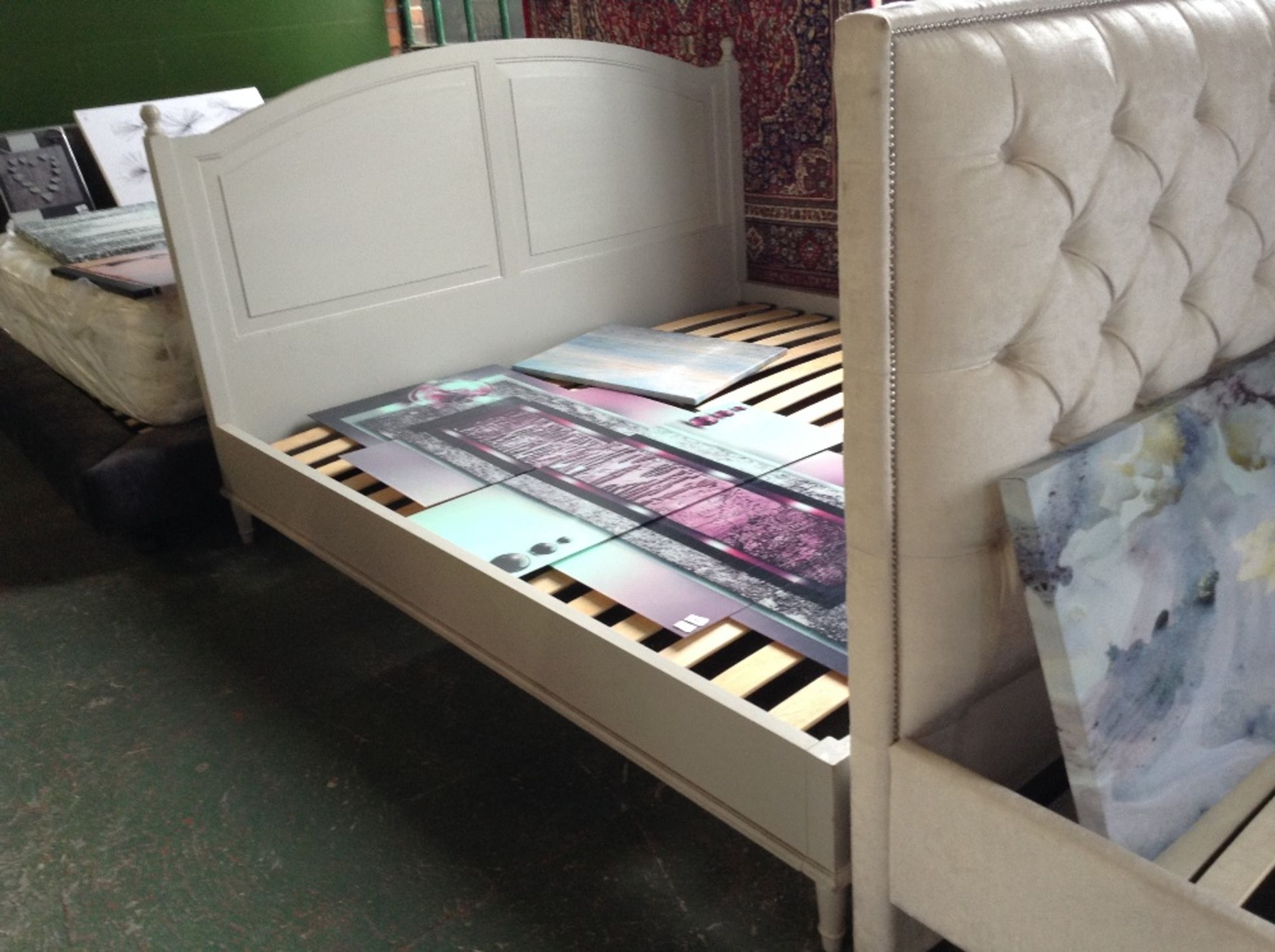Lot 195 - HAND MADE PAINTED 6 FT BED FRAME