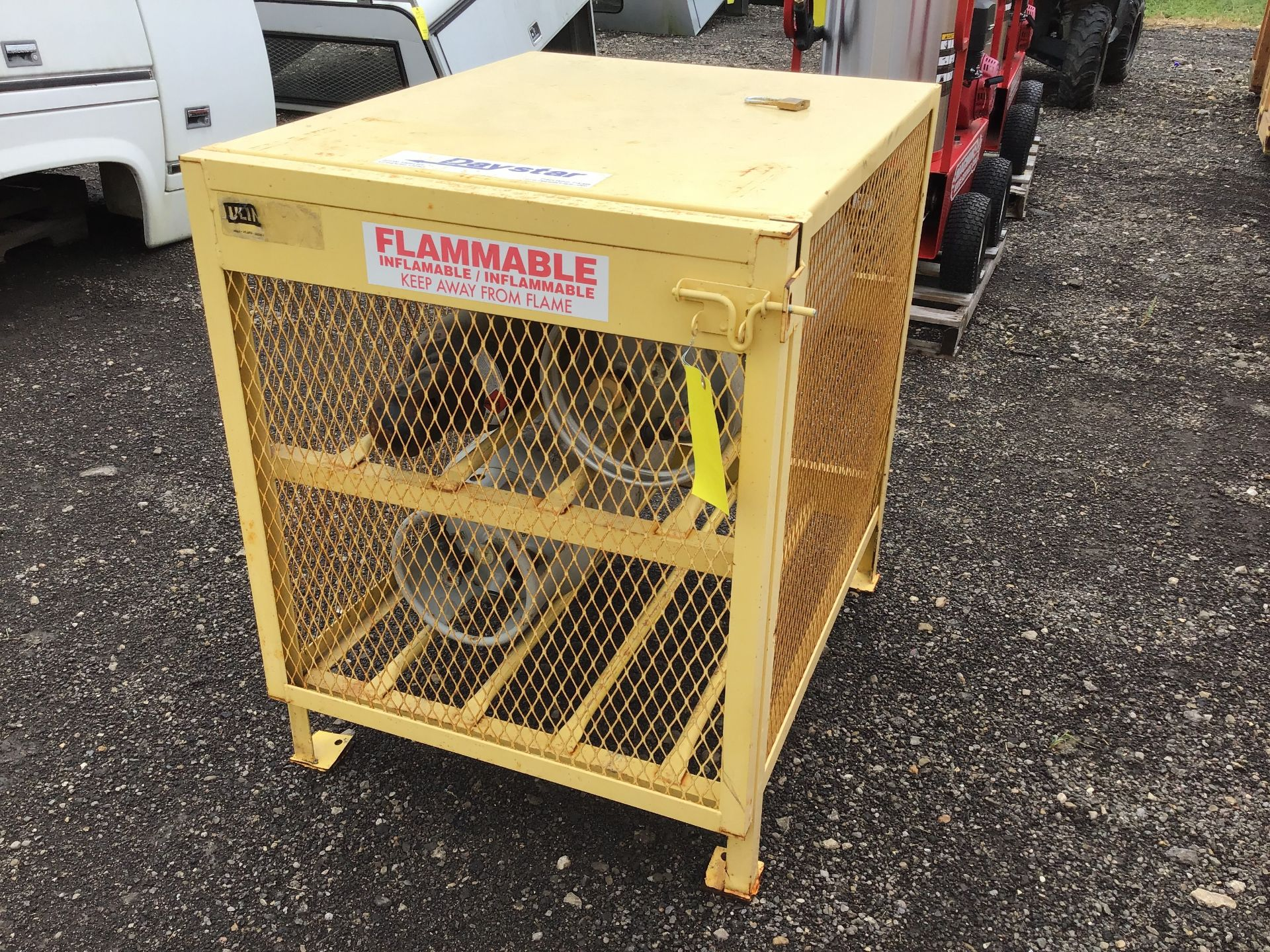 Lot 152 - FLAMMABLE STORAGE CONTAINER W/3 TANKS