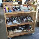 Lot 43 - WOODEN MEDIA CART ON CASTER WHEELS LOADED WITH MISC ELECTRICAL SUPPLIES
