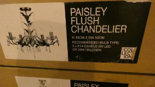 Lot of 2 Boxed Home Collection Paisley Flush Chandeliers Combined RRP £280 (Customer Return)
