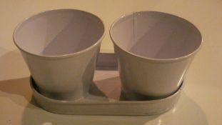 Box of 30 Mini Decorative Zinc Buckets With Trays