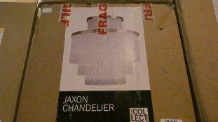 Boxed Home Collection Jaxon Stainless Steel and Crystal Glass Droplet Chandelier Ceiling Light