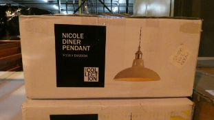 Lot of 2 Boxed Home Collection Nicole Dinner Pendant Lights Combined RRP £110 (Customer Return)