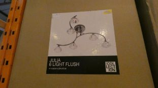 Boxed Home Collection Julia 6 Light Flush Stainless Steel and Glass Ceiling Light Fitting RRP £