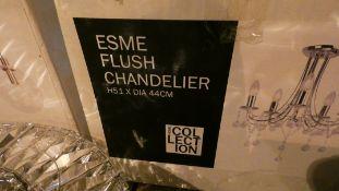 Boxed Home Collection Esme Stainless Steel 5 Light Flush Chandelier RRP £195 (Customer Return)
